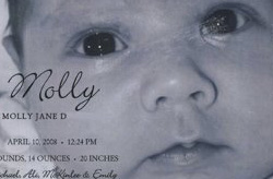 "Baby announcement ""Molly"" with close up of her face"
