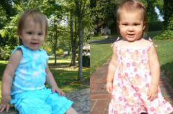 Two side-by-side, outdoor pictures of toddler girl